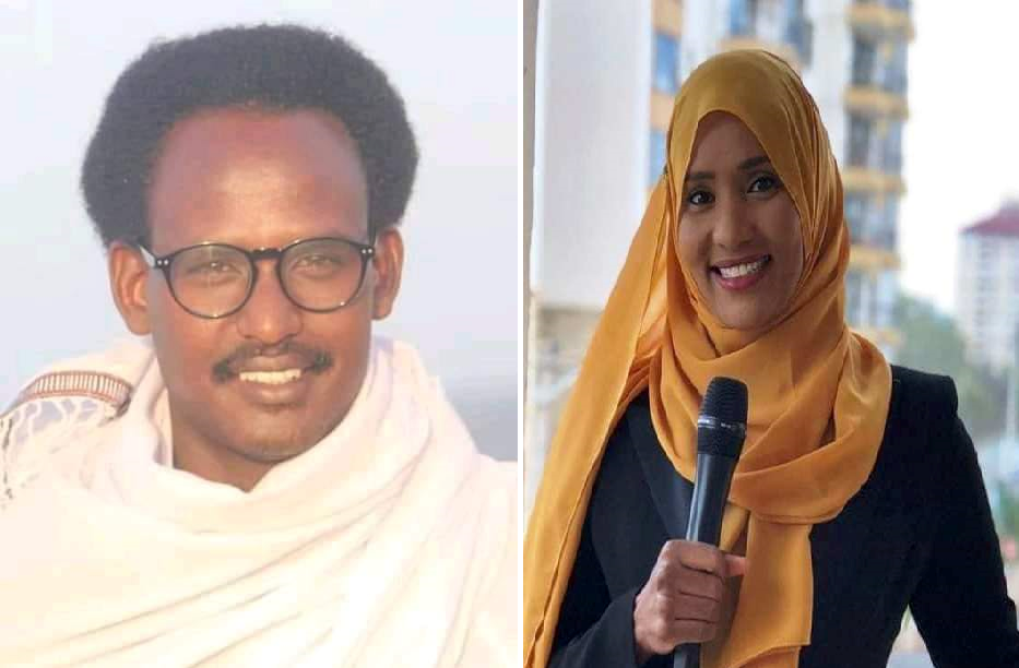 Two TV journalists, Mohamed Sahal Omar (left) and Hodan Naleyeh (right) killed during Kismayo hotel attack in July, 2019. | PHOTO: SJS.